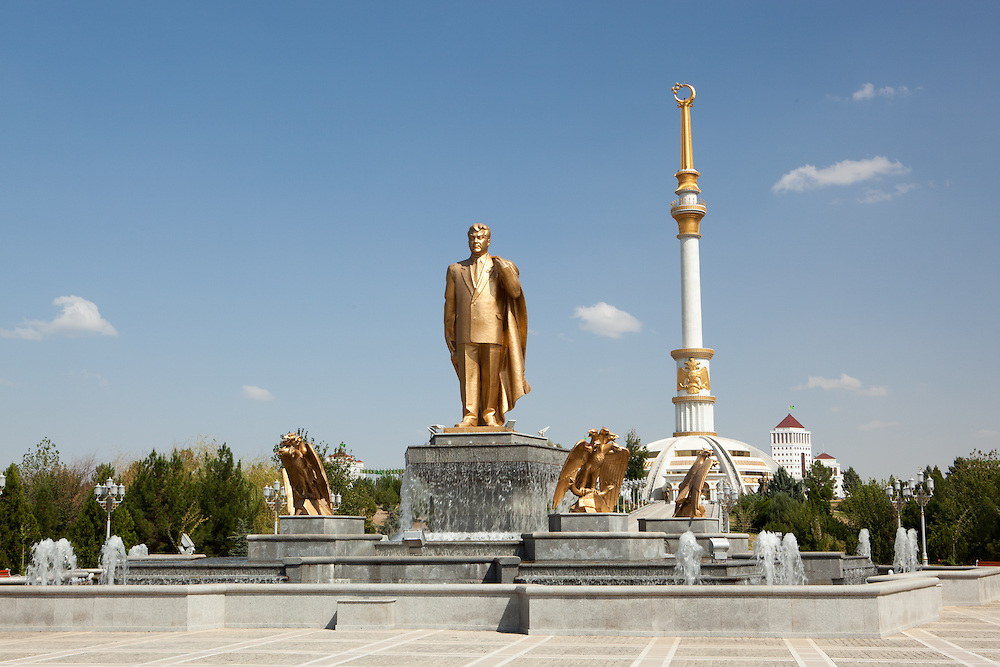 "A statue of the former ""President for Life"" in Independence Park, Ashgabat, Turkmenistan"