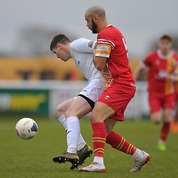 TELFORD COPYRIGHT MIKE SHERIDAN Matt Stenson of Telford (on loan from Solihull Moors) holds off Spencer Hamilton during the Vanarama Conference North fixture between AFC Telford United and Gloucester City at Jubilee Stadium, Evesham on Saturday, December 28, 2019.<br /> <br /> Picture credit: Mike Sheridan/Ultrapress<br /> <br /> MS201920-037