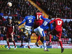 Bristol City's Stephen McManus scores with a header - Photo mandatory by-line: Joe Meredith/JMP  - Tel: Mobile:07966 386802 29/12/2012 - Bristol City v Peterborough United - SPORT - FOOTBALL - Championship -  Bristol  - Ashton Gate Stadium -