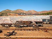 Old rusty abandoned railway rolling stock wagons, Rio Tinto mining area, Minas de Riotinto, Huelva province, Spain
