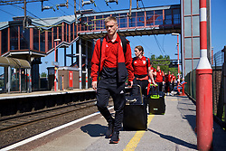 RUNCORN, ENGLAND - Tuesday, May 22, 2018: Wales' Matthew Smith at Runcorn Station as the squad travel by train as they head to Heathrow for a flight to Los Angeles ahead of the international friendly match against Mexico. (Pic by David Rawcliffe/Propaganda)