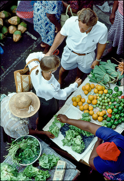 Shopping in local fresh produce market, St. George's, Grenada, West Indies