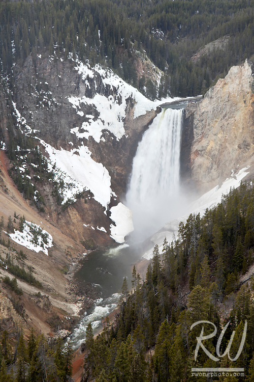 Lower Yellowstone Falls from North Rim Grandview Vista, Yellowstone National Park, Wyoming