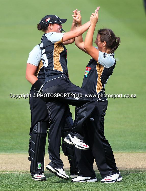 Kate Broadmore celebrates a wicket. Women's International Twenty20 cricket match - New Zealand White Ferns v Australia Southern Stars at AMI Stadium, Christchurch. Sunday 28 February 2010.