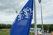 England flag before during the Royal London Women's One Day International match between England Women Cricket and Australia at the Fischer County Ground, Grace Road, Leicester, United Kingdom on 2 July 2019.
