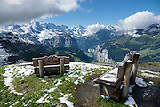 Snow in August on Männlichen Royal Walk, above Lauterbrunnen Valley, Switzerland, the Alps, Europe.