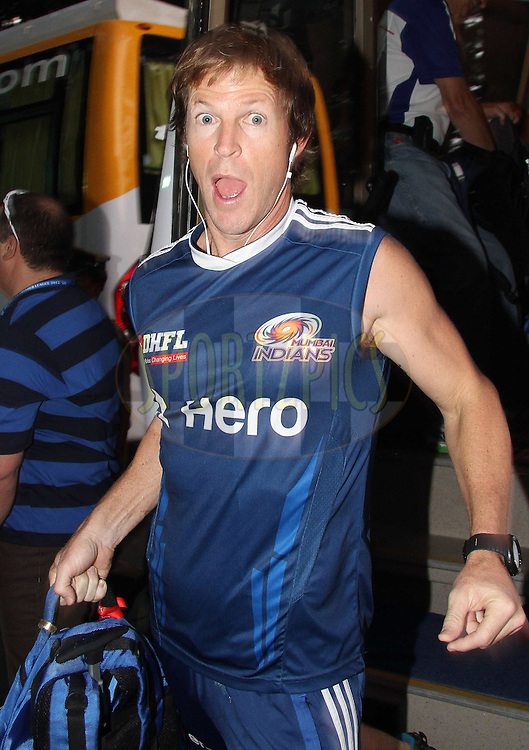 Mumbai Indians fielding coach Jonty Rhodes arrives at the ground during The IPL 2012, Season 5, eliminator match between The Mumbai Indians and The Chennai Superkings held at the M. Chinnaswamy Stadium, Bengaluru on the 23rd May 2012..Photo by Shaun Roy/IPL/SPORTZPICS