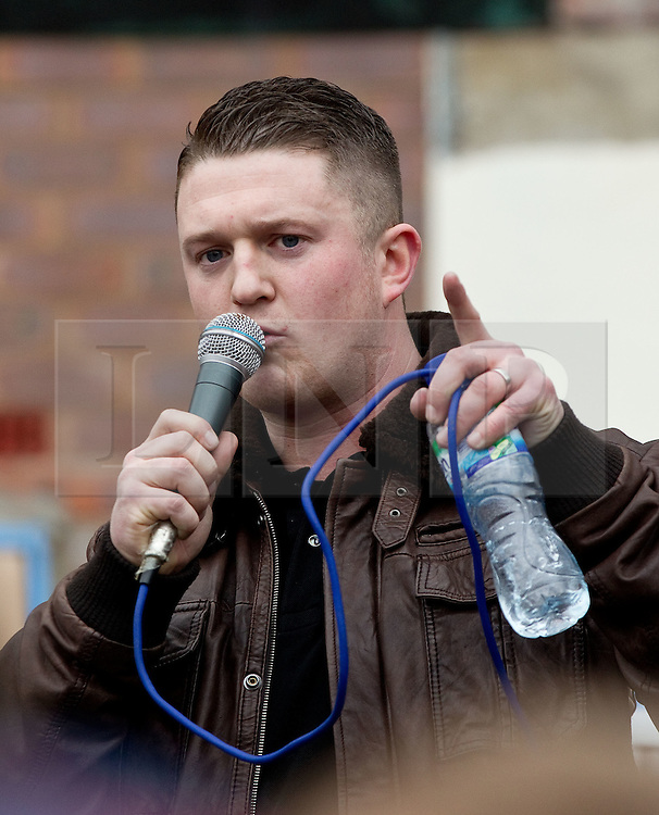 © licensed to London News Pictures. FILE PICTURE OF STEPHEN LENNON AT AN EDL RALLY IN HYDE, GREATER MANCHESTER, DATED 25/02/2012. UK 24/04/2012. Campaigning organisation Hope Not Hate report that EDL leader Stephen Yaxley Lennon (aka Tommy Robinson) is to be appointed deputy leader of the British Freedom Party. Please see special instructions for usage rates. Photo credit should read Joel Goodman/LNP