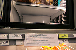 © licensed to London News Pictures. London, UK 13/02/2013. Frozen packs of 16 beef meatballs from Essentials range removed from sale. Meatballs labelled as being made from beef contained pork. Photo credit: Tolga Akmen/LNP