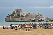 The beach, town and the castle of Papa Luna. Peniscola, Spain.
