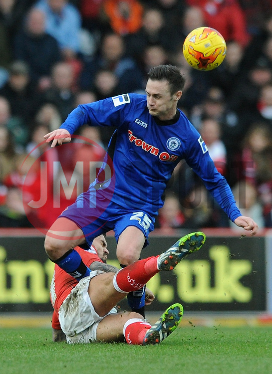 Bristol City's Marlon Pack challenges for the ball with Rochdale's Michael Rose - Photo mandatory by-line: Dougie Allward/JMP - Mobile: 07966 386802 - 28/02/2015 - SPORT - football - Bristol - Ashton Gate - Bristol City v Rochdale AFC - Sky Bet League One