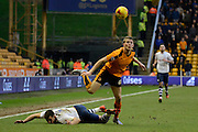 Wolverhampton Wanderers striker Bjorn Sigurdarson fouls Preston North End defender Bailey Wright  during the Sky Bet Championship match between Wolverhampton Wanderers and Preston North End at Molineux, Wolverhampton, England on 13 February 2016. Photo by Alan Franklin.