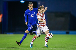 Andreas Samaris of Greece and Luka Modric of Croatia during the football match between National teams of Croatia and Greece in First leg of Playoff Round of European Qualifiers for the FIFA World Cup Russia 2018, on November 9, 2017 in Stadion Maksimir, Zagreb, Croatia. Photo by Ziga Zupan / Sportida