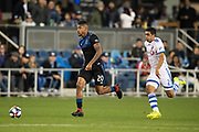 March 2, 2019; San Jose, CA, USA; San Jose Earthquakes midfielder Anibal Godoy (20) controls the ball against Montreal Impact defender Victor Cabrera (2) during the second half at Avaya Stadium.