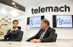 Aljaz Bedene and Marko Umberger, president of Tenis Slovenija during press conference when Aljaz Bedene anounced he is going to play for Slovenia at Davis Cup again, on December 20, 2017 in Telemach centre, Ljubljana, Slovenia. Photo by Vid Ponikvar / Sportida