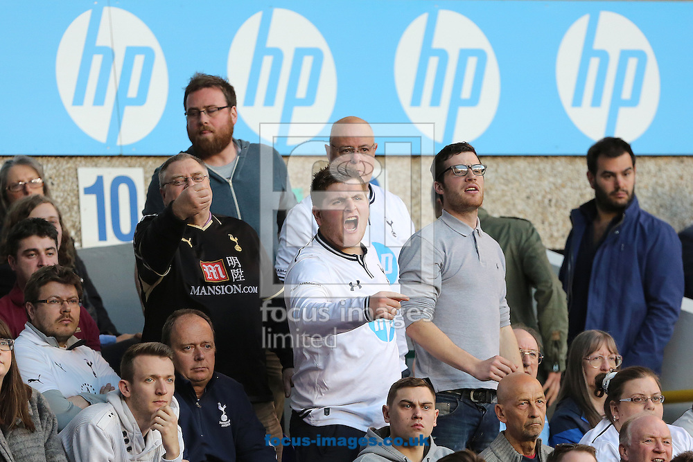 Fans of Tottenham Hotspur show their anger during the Barclays Premier League match against Arsenal at White Hart Lane, London<br /> Picture by Richard Calver/Focus Images Ltd +447792 981244<br /> 16/03/2014