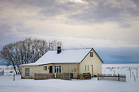 ICELAND - CIRCA MARCH 2015: Farm house in South Iceland during winter time.