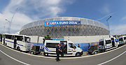 View of the outside of Stade de Nice stadium with security and police during the Euro 2016 match between Poland and Northern Ireland at the Stade de Nice, Nice, France on 12 June 2016. Photo by Phil Duncan.