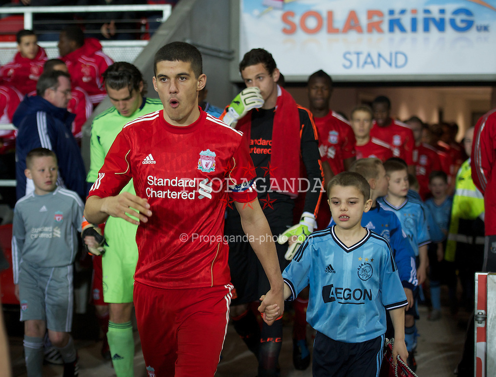 ST HELENS, ENGLAND - Wednesday, March 14, 2012: Liverpool's captain Conor Coady leads his side out to face AFC Ajax during the NextGen Series Semi-Final match at Langtree Park. (Pic by David Rawcliffe/Propaganda)