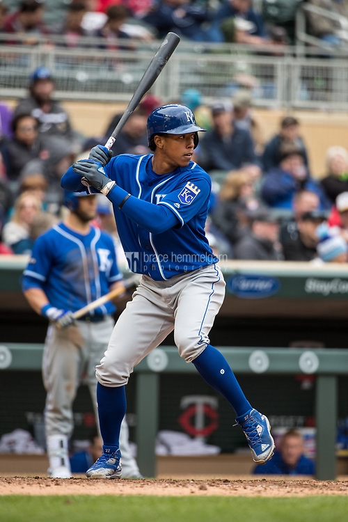 MINNEAPOLIS, MN- APRIL 5: Raul Mondesi #27 of the Kansas City Royals bats against the Minnesota Twins on April 5, 2017 at Target Field in Minneapolis, Minnesota. The Twins defeated the Royals 9-1. (Photo by Brace Hemmelgarn) *** Local Caption *** Raul Mondesi