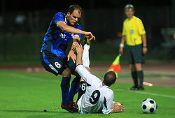 Aris Zarifovic of Gorica vs Terence Scerri of Hibernians during 2nd match of 1st round Intertoto Cup soccer match between ND Gorica and Hibernians FC at Sports park, on June 28,2008, in Nova Gorica, Slovenia. (Photo by Vid Ponikvar / Sportal Images)