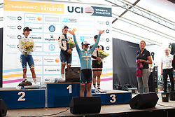 Cecilie Uttrup Ludwig (DEN) of Cervélo-Bigla Cycling Team celebrates retaining the UCI Women World Tour best young rider's blue jersey after  the Crescent Vargarda - a 152 km road race, starting and finishing in Vargarda on August 13, 2017, in Vastra Gotaland, Sweden. (Photo by Balint Hamvas/Velofocus.com)