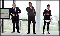 Actor Will Smith and his son Jaden at City Hall with Boris Johnson,watch a presentation by young Londoners involved in the Mayor's Leadership Clubs. to promote London Leadership Clubs, Friday, 24th May 2013.Picture by Andrew Parsons / i-Images