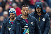 Manchester City midfielder Riyad Mahrez (26), Manchester City defender Danilo (3) and Manchester City goalkeeper Arijanet Muric (49) before the Premier League match between Crystal Palace and Manchester City at Selhurst Park, London, England on 14 April 2019.