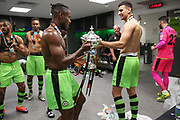 Forest Green Rovers Dale Bennett(6) and Forest Green Rovers Omar Bugiel(11) with the trophy during the Vanarama National League Play Off Final match between Tranmere Rovers and Forest Green Rovers at Wembley Stadium, London, England on 14 May 2017. Photo by Shane Healey.