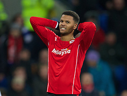 CARDIFF, WALES - Tuesday, February 11, 2014: Cardiff City's Fraizer Campbell looks dejected after missing a chance against Aston Villa during the Premiership match at the Cardiff City Stadium. (Pic by David Rawcliffe/Propaganda)