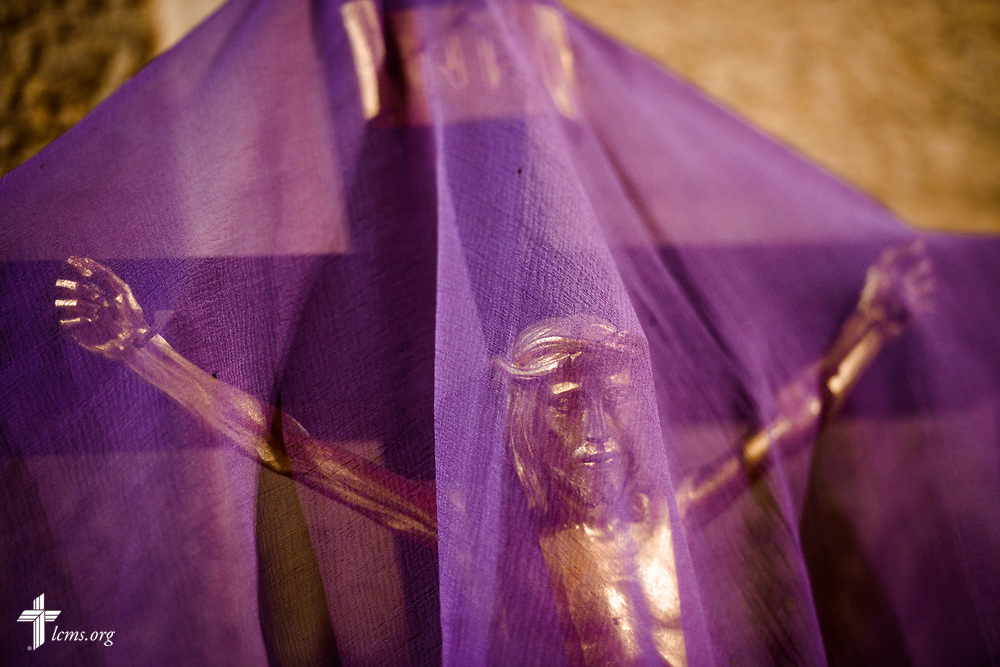 A veiled altar crucifix during Lent at The Good Shepherd Lutheran Church, Inglewood, Calif., on Thursday, March 22, 2018. LCMS Communications/Erik M. Lunsford