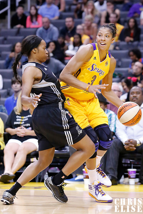 25 May 2014: Los Angeles Sparks forward/center Candace Parker (3) looks to pass the ball during the Los Angeles Sparks 83-62 victory over the San Antonio Stars, at the Staples Center, Los Angeles, California, USA.