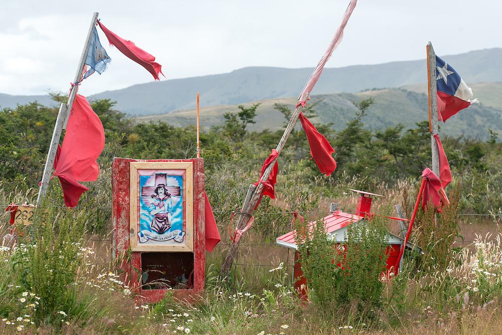 Gaucho Gil Shrine on Hillside, Chile, south america