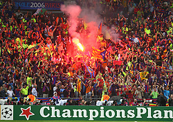 PARIS, FRANCE - WEDNESDAY, MAY 17th, 2006: FC Barcelona fans celebrate after scoring the winning goal against Arsenal during the UEFA Champions League Final at the Stade de France. (Pic by David Rawcliffe/Propaganda)