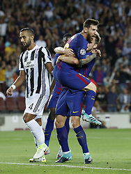 (L-R) Medhi Benatia of Juventus FC, Lionel Messi of FC Barcelona, Ivan Rakitic of FC Barcelona during the UEFA Champions League group D match between FC Barcelona and Juventus FC  on September 12, 2017  at the Camp Nou stadium in Barcelona, Spain.