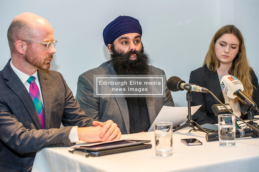 """Pictured: Martin Docherty-Hughes, SNP, MSP for West Dumbartonshire, Gurpreet Singh Johal, Jaggi's brother, Josie Fathers, Advocate Office for REDRESS<br /> <br /> This week marks 100 days since the arrest of Jagtar Singh Johal, a Scottish Sikh from Dumbarton who has been held by Indian police without charge since 4 November 2017.  The arrest came two weeks after Jagtar, also known as 'Jaggi"""" travelled to india from Scotland for his wedding.<br /> <br /> <br /> Ger Harley 
