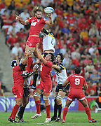 """Scott Higginbotham secures clean line out ball for the Reds during the Super 15 Rugby Union match (Round 7) between the Queensland Reds and the ACT Brumbies played at Suncorp Stadium (Brisbane, Australia) on Good Friday 6th April 2012 ~ Queensland (20) defeated the Brumbies (13) ~ This image is intended for Editorial use only - Required Images Credit """"Steven Hight - Aura Images"""""""