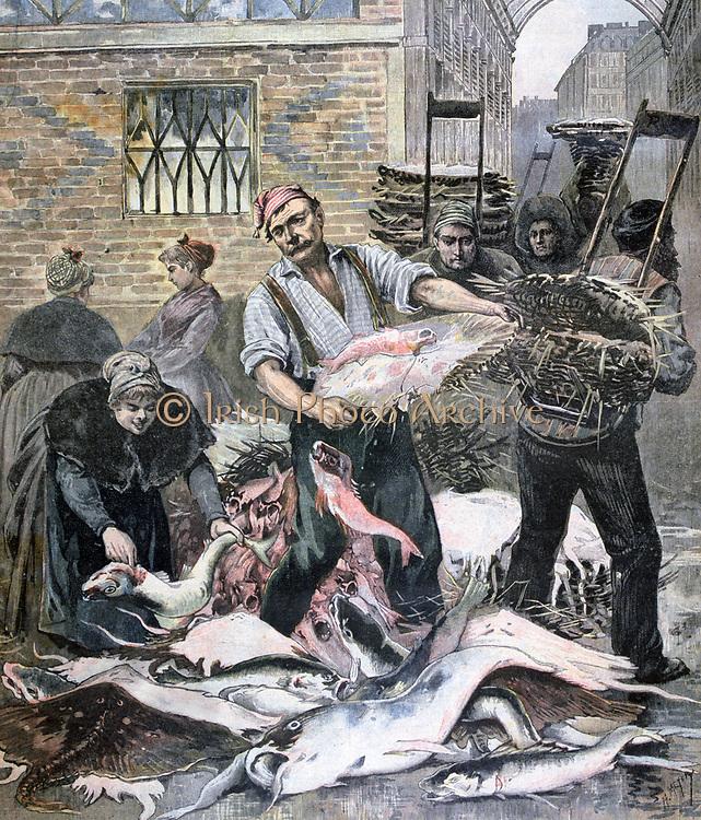 Paris fish market on the eve of La Careme (Lent ). From 'Le Petit Journal', Paris, 4 March 1893. Commerce, Trade, Religion, Christian