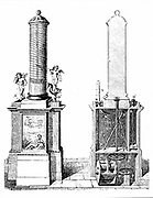 Reconstruction of Ctesibius of Alexandria's  (active 270 BC) clepsydra (water clock). Engraving 1857.