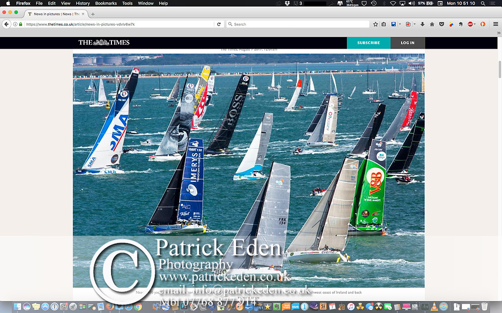 The Times, Newspaper, Online, Sunday 6th August. Start of the 2017 Fastnet Race. Cowes. Isle of Wight. England. 2017, Rolex,