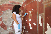 Restoration of the frescoes, begun July 2017, on the wall of the Schola Armatorarum, a gladiator training school which collapsed in 2010 and is being restored, in the Parco Archeologico di Pompei, or Archaeological Park of Pompeii, Campania, Italy. A new phase of official excavations has been taking place here since 2017 in an attempt to stop looters from digging tunnels and removing artefacts for sale. Pompeii was a Roman city which was buried in ash after the eruption of Vesuvius in 79 AD. The site is listed as a UNESCO World Heritage Site. Picture by Manuel Cohen