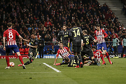 February 20, 2019 - Madrid, Spain - Jose Maria Gimenez (Atletico de Madrid)  scores to make it (1,0)  UCL Champions League match between Atletico de Madrid vs Juventus at the Wanda Metropolitano stadium in Madrid, Spain, February 20, 2019  (Credit Image: © Enrique De La Fuente/NurPhoto via ZUMA Press)