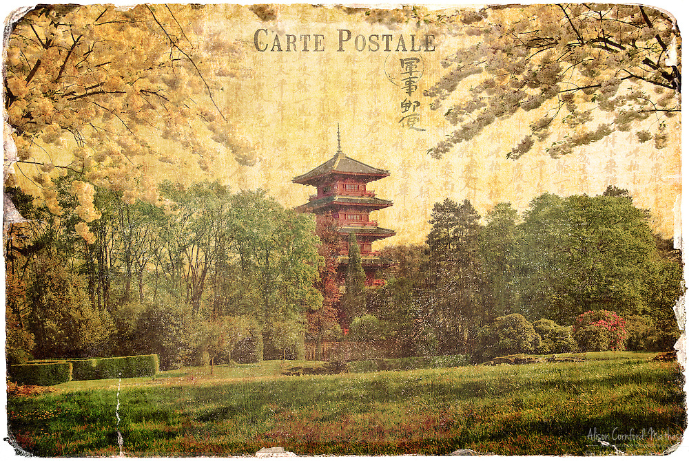 Japanese Tower, Laeken, Belgium- Forgotten Postcard digital art collage