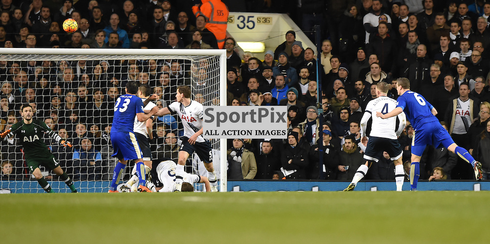Robert Huth's header loops in to the net to give Leicester a 1-0 win (c) Simon Kimber | SportPix.org.uk