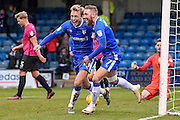 Gillingham midfielder Josh Wright (44) celebrates his second goal (2-0) with Gillingham midfielder Scott Wagstaff (7) during the EFL Sky Bet League 1 match between Gillingham and Southend United at the MEMS Priestfield Stadium, Gillingham, England on 25 February 2017. Photo by Martin Cole.