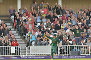 Steven Mullaney catches Michael Leask (not shown) during the NatWest T20 Blast Quarter Final match between Notts Outlaws and Somerset County Cricket Club at Trent Bridge, West Bridgford, United Kingdom on 24 August 2017. Photo by Simon Trafford.