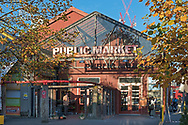 The entrance to the famous Granville Island Public Market on a fall day in Vancouver, British Columbia, Canada.