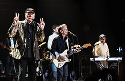 © Licensed to London News Pictures. 27/09/2012. London, UK. Mike Love (Left) and Al Jardine (Centre) and Bruce Johnston (Right) of The Beach Boys performing live at The Royal Albert Hall, London, as part of their 50th Anniversary Tour.  It is reported that this is the final tour that Love, Wilson and Jardine will play together as The Beach Boys - with Love planning on continuing the band with different band members. Photo credit : Richard Isaac/LNP