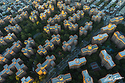 Aerial view of Stuyvesent Town Peter Cooper Village in New York City at sunrise, photographed from a helicopter.