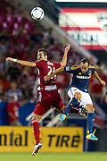 FRISCO, TX - AUGUST 11:  Matt Hedges #24 of FC Dallas battles for the ball against Landon Donovan #10 of the Los Angeles Galaxy on August 11, 2013 at FC Dallas Stadium in Frisco, Texas.  (Photo by Cooper Neill/Getty Images) *** Local Caption *** Matt Hedges; Landon Donovan